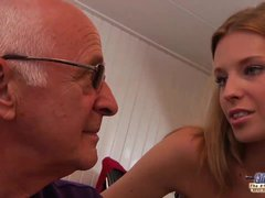 Grandpa teaching young girl how to fuck and suck and old cock – Angel Hott