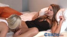 Czech – Shy girl lets BFF suck virgin pussy