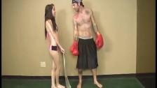 A topless teen jerks a big boner
