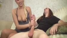 Hot blonde jerking a big dick