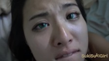 18 yr old Green EYES ASIAN takes Cum ALL OVER her Face!