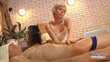 Nasty sweet girl ease old man with pussy rub
