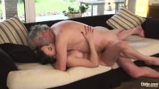 Sensual Teen has sex with really old man and makes him cum