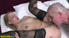 Horny old bastard doing a hot babe