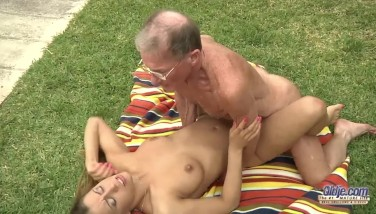 Lucky old perv assfucks young blonde Nikky T