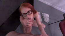 Tiny little redhead loves getting fucked in class