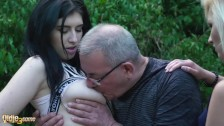 Grandpa caught wanking by 2 teens and gets best threesome in his life
