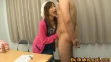 Asian babe gets bukkake