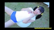 Gravure Idol Rina Naruse Teases In The Garden Then Pulls Wet Panties